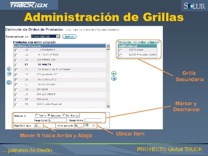 Administración de Grillas Grilla Secundaria Marcar y Desmarcar Mover N hacia Arriba y Abajo.