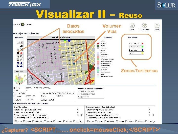 Visualizar II – Datos asociados Reuso Volumen Vtas Zonas/Territorios ¿Capturar? <SCRIPT…. . . onclick=mouse.