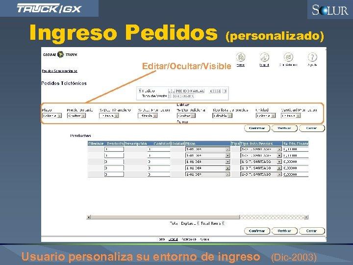 Ingreso Pedidos (personalizado) Editar/Ocultar/Visible Usuario personaliza su entorno de ingreso (Dic-2003)