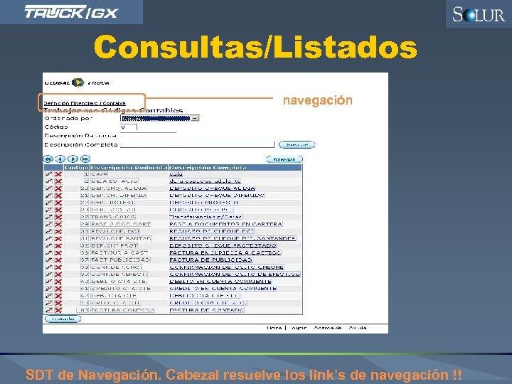 Consultas/Listados navegación SDT de Navegación. Cabezal resuelve los link's de navegación !!