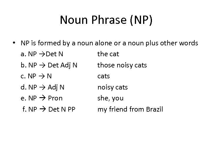 Noun Phrase (NP) • NP is formed by a noun alone or a noun