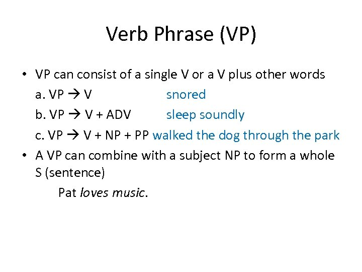 Verb Phrase (VP) • VP can consist of a single V or a V