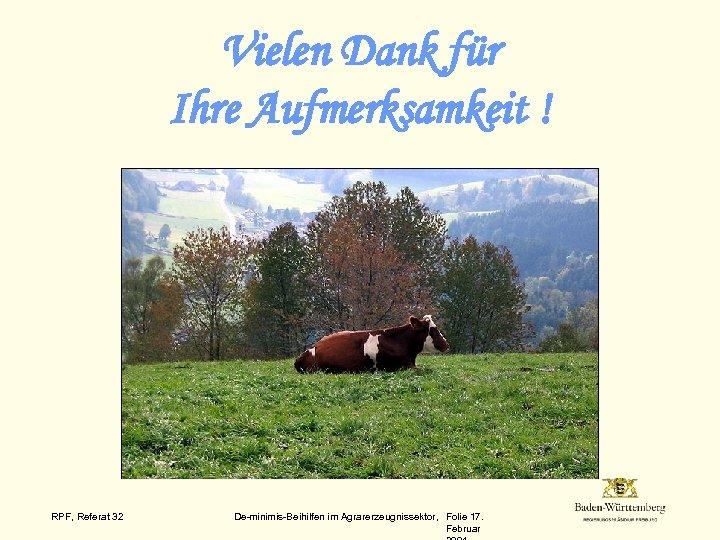 Vielen Dank für Ihre Aufmerksamkeit ! RPF, Referat 32 De-minimis-Beihilfen im Agrarerzeugnissektor, Folie 17.
