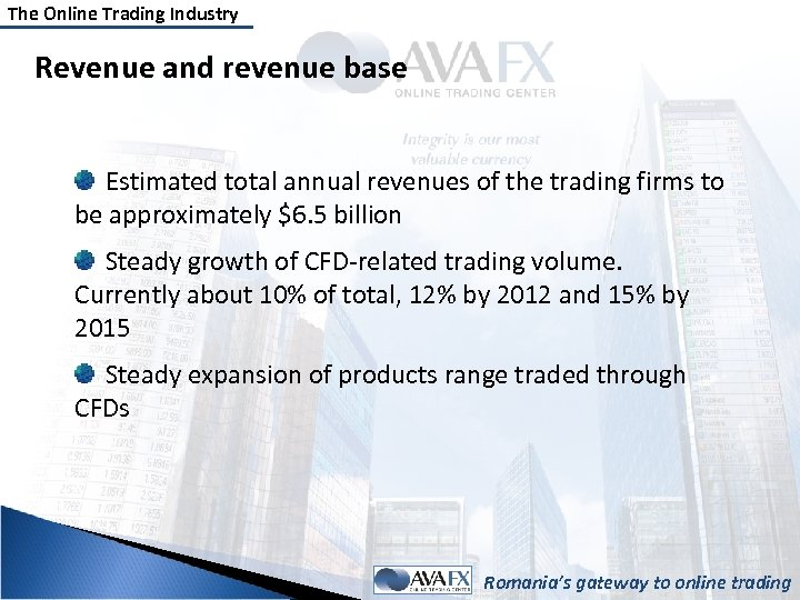 The Online Trading Industry Revenue and revenue base Estimated total annual revenues of the