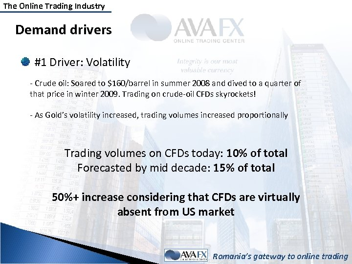 The Online Trading Industry Demand drivers #1 Driver: Volatility - Crude oil: Soared to