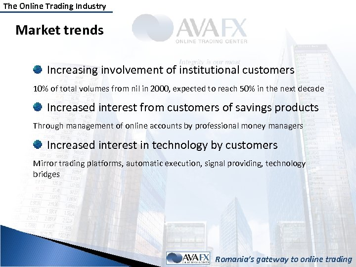 The Online Trading Industry Market trends Increasing involvement of institutional customers 10% of total