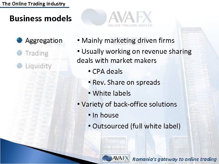 The Online Trading Industry Business models Aggregation Trading Liquidity • Mainly marketing driven firms