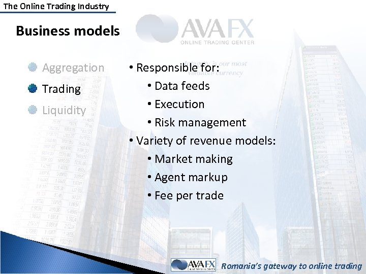 The Online Trading Industry Business models Aggregation Trading Liquidity • Responsible for: • Data