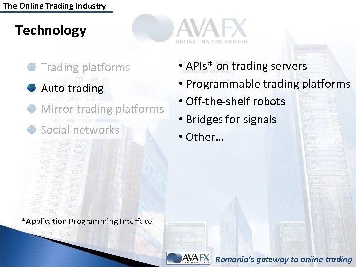 The Online Trading Industry Technology Trading platforms Auto trading Mirror trading platforms Social networks