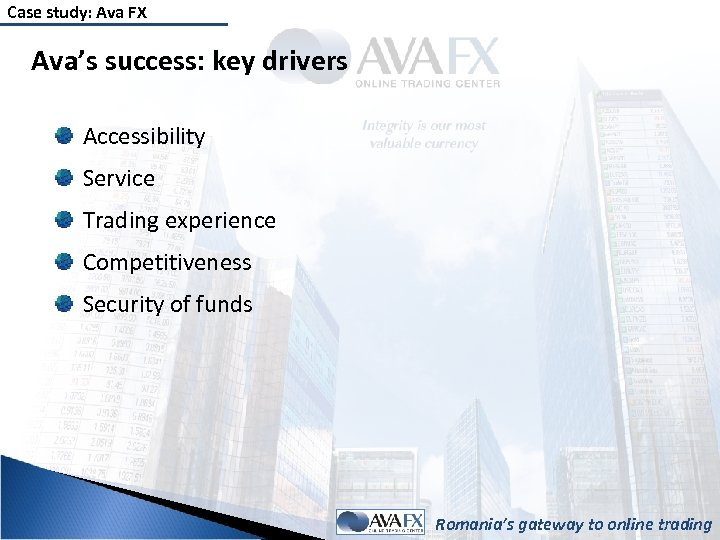 Case study: Ava FX Ava's success: key drivers Accessibility Service Trading experience Competitiveness Security