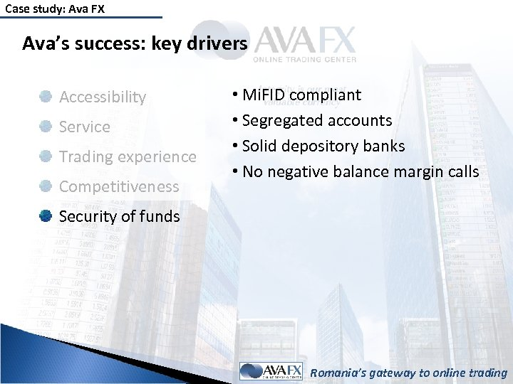 Case study: Ava FX Ava's success: key drivers Accessibility Service Trading experience Competitiveness •