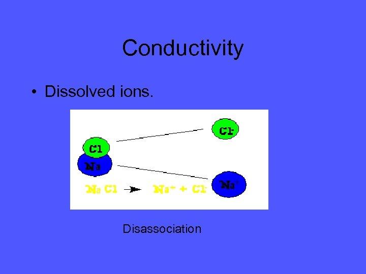 Conductivity • Dissolved ions. Disassociation