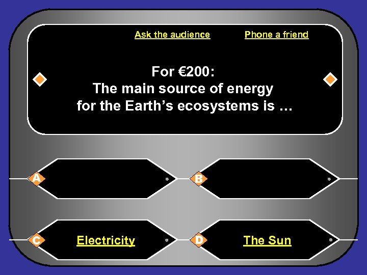 Ask the audience Phone a friend For € 200: The main source of energy