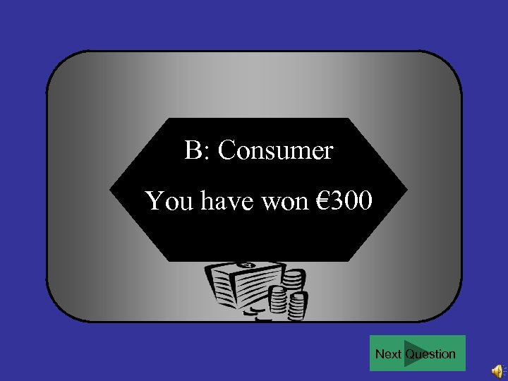B: Consumer You have won € 300 Next Question