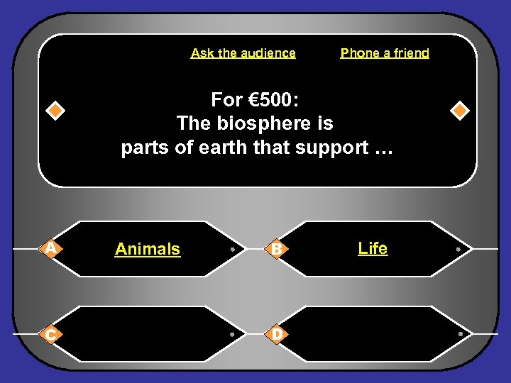Ask the audience Phone a friend For € 500: The biosphere is parts of