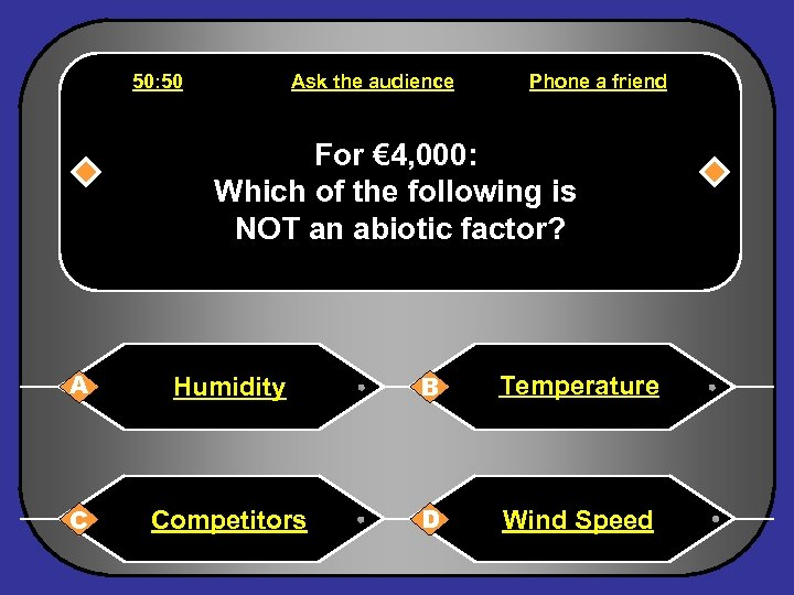50: 50 Ask the audience Phone a friend For € 4, 000: Which of