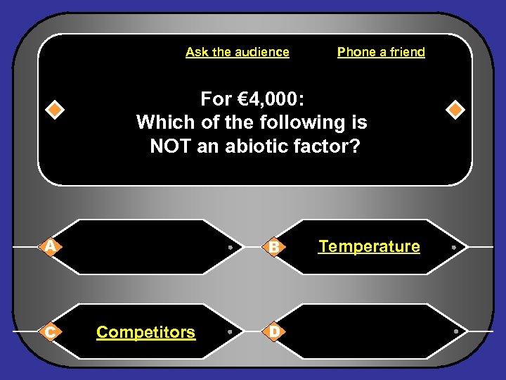 Ask the audience Phone a friend For € 4, 000: Which of the following