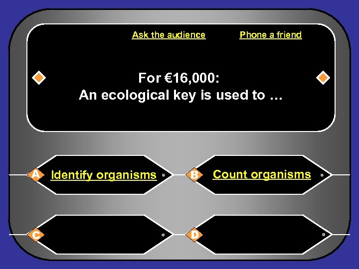 Ask the audience Phone a friend For € 16, 000: An ecological key is