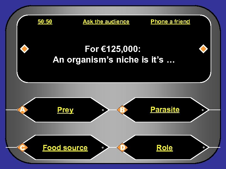 50: 50 Ask the audience Phone a friend For € 125, 000: An organism's