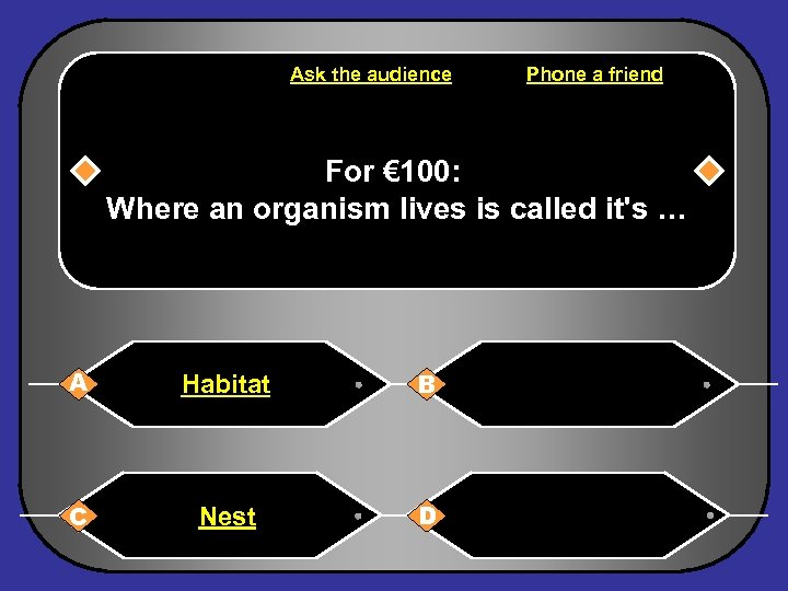 Ask the audience Phone a friend For € 100: Where an organism lives is