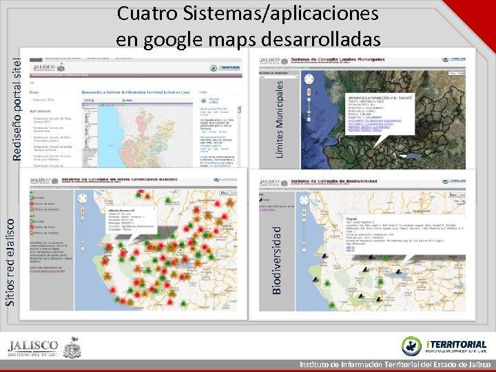 Límites Municipales Biodiversidad Sitios red e. Jalisco Rediseño portal sitel Cuatro Sistemas/aplicaciones en google