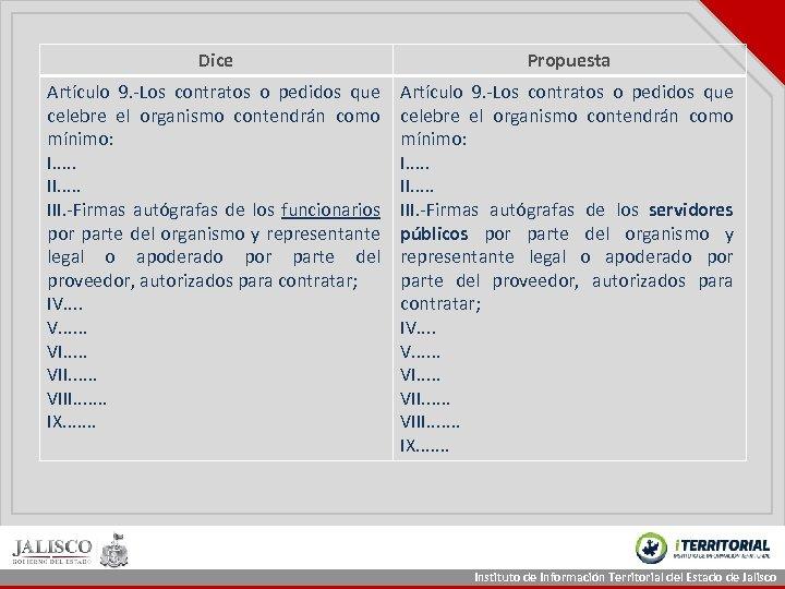 Dice Propuesta Artículo 9. -Los contratos o pedidos que celebre el organismo contendrán como