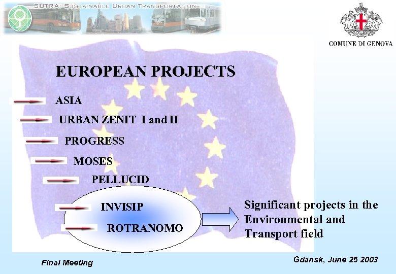 EUROPEAN PROJECTS ASIA URBAN ZENIT I and II PROGRESS MOSES PELLUCID INVISIP ROTRANOMO Final