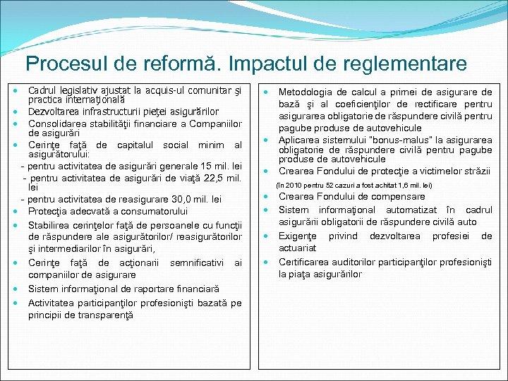 Procesul de reformă. Impactul de reglementare Cadrul legislativ ajustat la acquis-ul comunitar şi practica