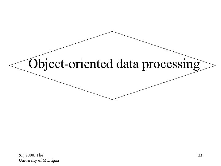 Object-oriented data processing (C) 2000, The University of Michigan 23