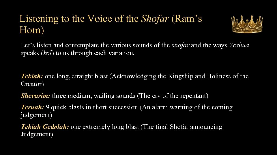 Listening to the Voice of the Shofar (Ram's Horn) Let's listen and contemplate the