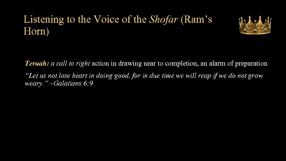 Listening to the Voice of the Shofar (Ram's Horn) Teruah: a call to right