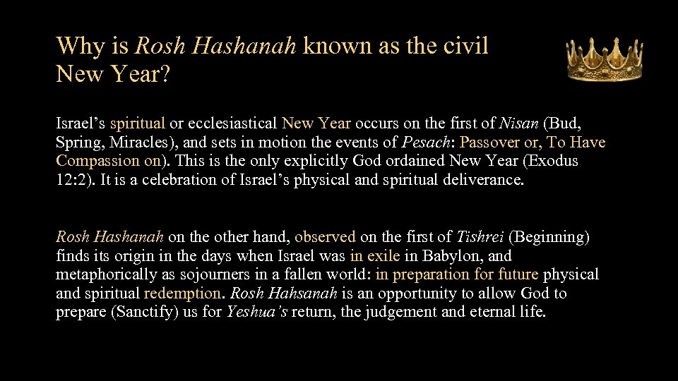 Why is Rosh Hashanah known as the civil New Year? • Israel's spiritual or