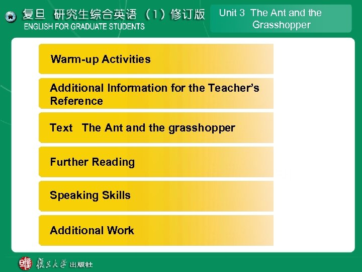 Unit 3 The Ant and the Grasshopper Warm-up Activities Additional lnformation for the Teacher's