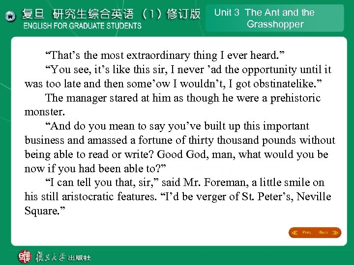 "Unit 3 The Ant and the Grasshopper ""That's the most extraordinary thing I ever"