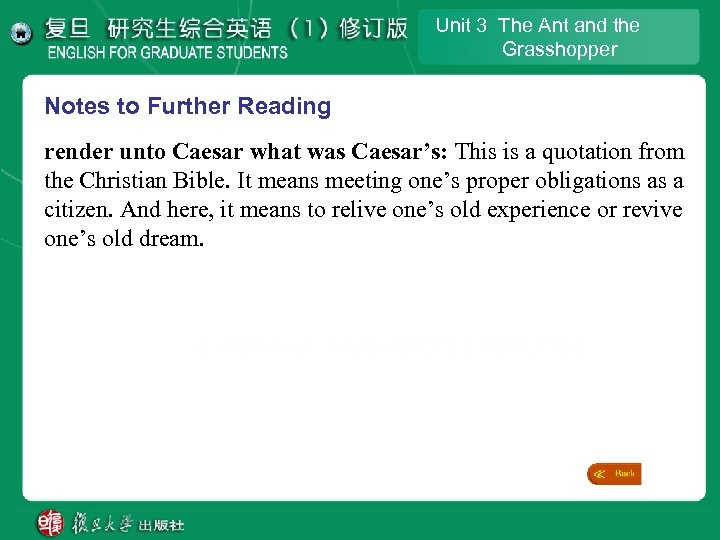 Unit 3 The Ant and the Grasshopper Notes to Further Reading render unto Caesar