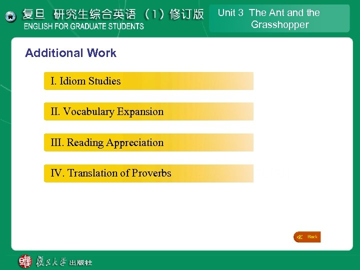 Unit 3 The Ant and the Grasshopper Additional Work I. Idiom Studies II. Vocabulary