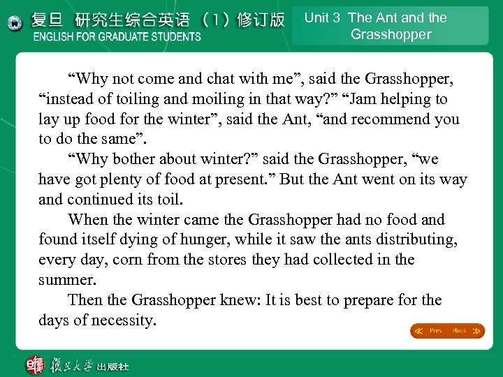 "Unit 3 The Ant and the Grasshopper ""Why not come and chat with me"","