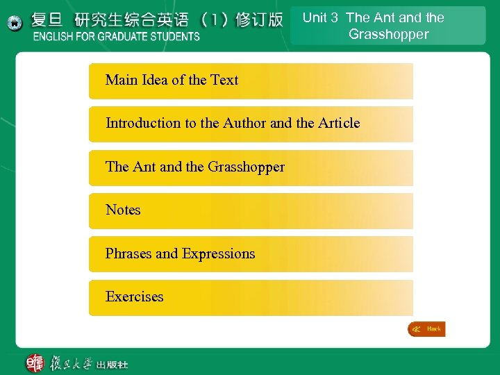 Unit 3 The Ant and the Grasshopper Main Idea of the Text Introduction to
