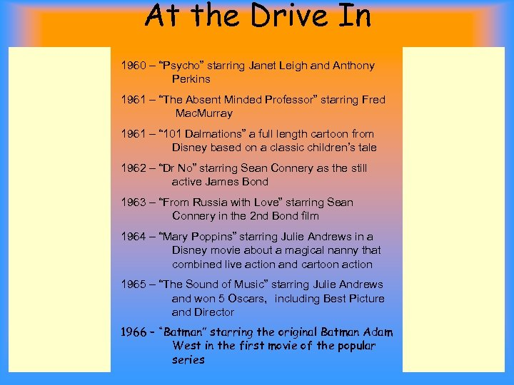 """At the Drive In 1960 – """"Psycho"""" starring Janet Leigh and Anthony Perkins 1961"""