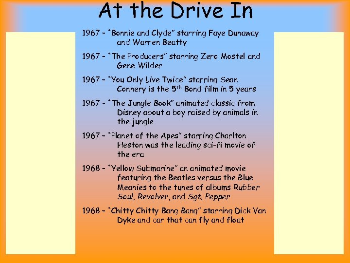 """At the Drive In 1967 – """"Bonnie and Clyde"""" starring Faye Dunaway and Warren"""