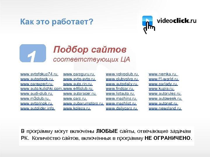 Как это работает? 1 Подбор сайтов соответствующих ЦА www. avtofokus 74. ru, www. carsguru.