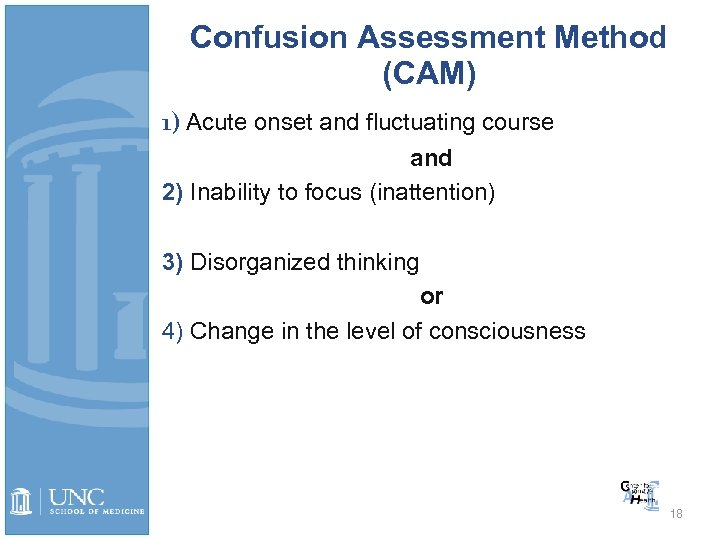 Confusion Assessment Method (CAM) 1) Acute onset and fluctuating course and 2) Inability to