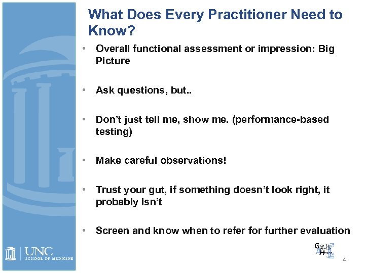 What Does Every Practitioner Need to Know? • Overall functional assessment or impression: Big