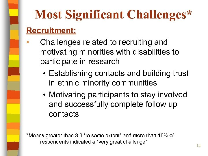 Most Significant Challenges* Recruitment: • Challenges related to recruiting and motivating minorities with disabilities