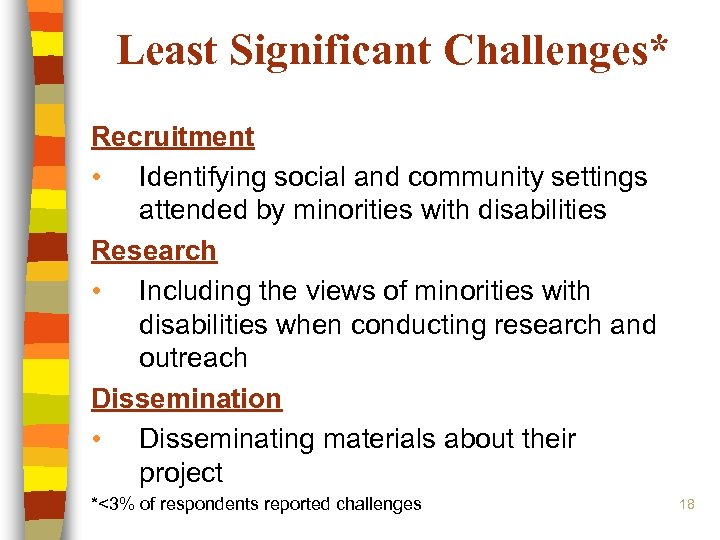 Least Significant Challenges* Recruitment • Identifying social and community settings attended by minorities with
