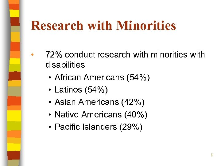 Research with Minorities • 72% conduct research with minorities with disabilities • African Americans