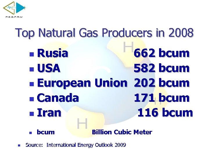 Top Natural Gas Producers in 2008 Rusia n USA n European Union n Canada