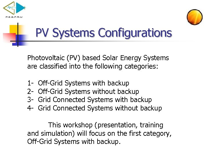 PV Systems Configurations Photovoltaic (PV) based Solar Energy Systems are classified into the following
