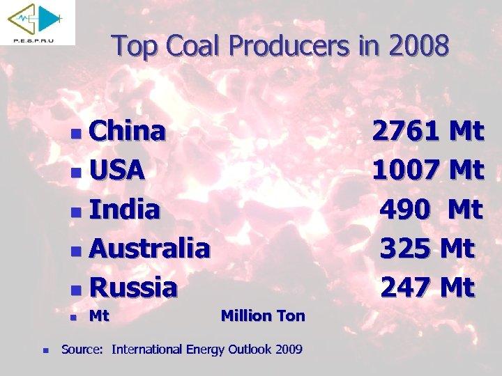 Top Coal Producers in 2008 China n USA n India n Australia n Russia