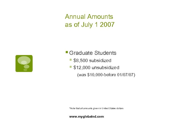 Annual Amounts as of July 1 2007 § Graduate Students § $8, 500 subsidized